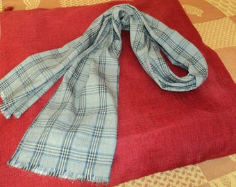 Scarf for men or women scarf gray/white/blue/black plaid pattern cotton/polyester
