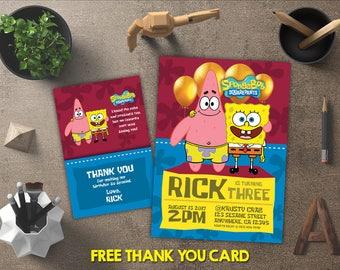 Spongebob Invitation, Spongebob Birthday, Spongebob Invites, Spongebob Printables, Spongebob Party, Spongebob Theme, FREE 4x6 Thank You Card