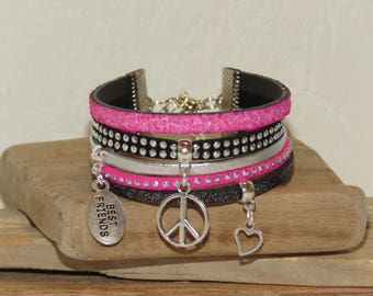 "Cuff Bracelet for teens ""Dragon"" leather, glitter black, pink neon and silver"