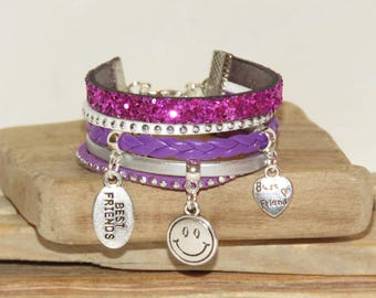 "Cuff Bracelet, multi-row, purple, silver, for teens ""SMILEY"" leather, suede, glitter, pimprenellecreation gift idea"