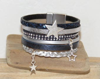 "Leather Cuff Bracelet Navy Blue and silver ""rock and Star"" with magnetic clasp"
