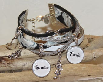 Cuff Bracelet personalized with 2 first names of your choice, leather, suede, liberty fabric with flowers, black, white,