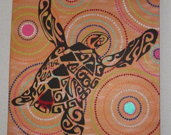 """maori and newborn style acrylic painting """"Turtle in colors"""""""