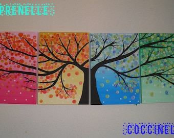 Original acrylic painting * tree *-* the four seasons *.