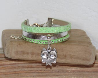 Girl with OWL charm bracelet, pastel green, silver, glitter, leather, suede studded, leather gift idea