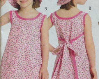 Butterick B5019 Sewing Pattern, Girls Top, Girls Dress, Girls Pants, Girls Hat, Size 6-8
