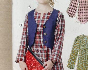 Stitch n Save M6145 Sewing Pattern, Girls Plus Dress, Girls Plus Top, Girls Plus Pants, Girls Plus Vest, Size 7 - 14, OOP