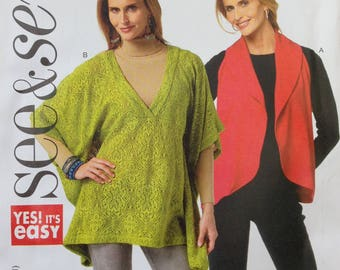 Butterick See & Sew Pattern B5772, Mises Jacket, Size XS-XXL, Out of Pring