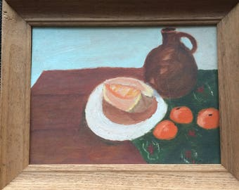 Signed Oil Painting of Fruit and Jug on Table