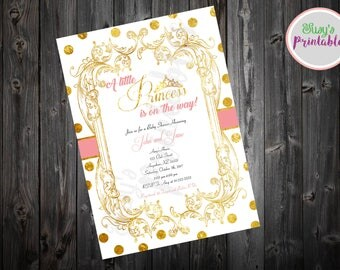 Pink and gold Baby Shower Invitation, Princess Baby shower Invitation, Baby Shower Invitation Girl,  Printable Baby shower Invitation
