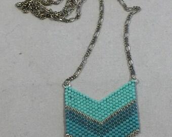 Necklace pearls miyuki in shades of green chevron