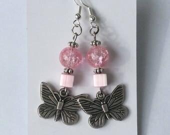 """Earrings """"Butterfly in pink"""""""