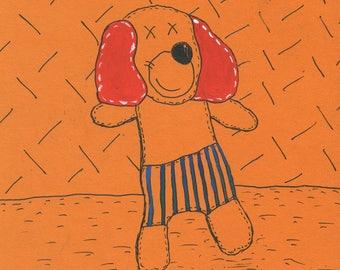 DOG Drawing, acrylic, CARDBOARD , Lishko Vitaliy collage mixed media, painting
