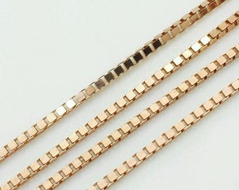 "14k Solid Rose Gold Box Link Necklace Pendant Chain 16""-24"".8mm"