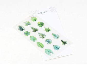 Drawing Style/Note book Sticker of Spring leaves