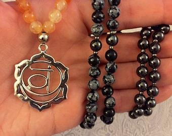 Citrine, snowflake obsidian, and hematite Sacral Chakra necklace/mala
