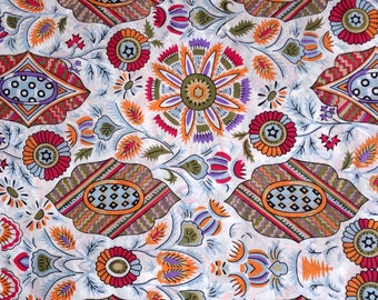 Fabric by the yard - white cotton and ethnic designs