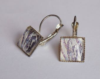 Square purple/gray abstract patterned Stud Earrings