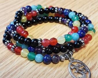 Chakra Mala 108 Bead Necklace Bracelet Spiritual Stone Jewelry Om ॐ SM0056