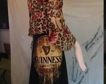 TeeRags Upcycled BoHo Dresses Cheetah, Roses, Guinness