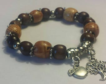 Tree and apple charm bracelet with wooden beads