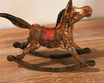 "Cast iron rocking horse 8"" H x 9"" W x 2.75"" D"