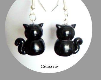 Black Cat polymer clay earrings
