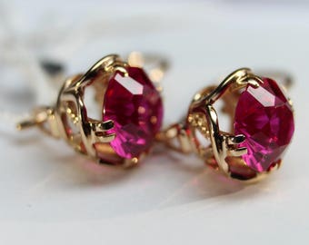 Vintage 14K 583 ROSE GOLD Russian Soviet USSR earrings