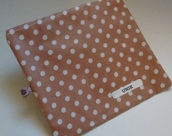 Makeup square beige coated cotton with white polka dots
