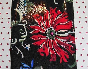 Bookmark pattern silk Chinese: red and blue flowers