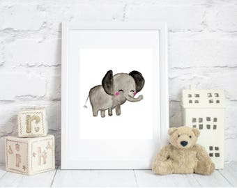 watercolor elephant, elephant wall art, elephant printable, elephant nursery art, elephant print, elephant decor, elephant nursery