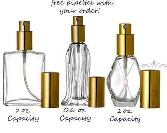 12 Bottle Set: LUXURY Atomizer Refillable Perfume Cologne Essential Oil Glass SPRAY BOTTLE Empty