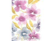 Abstract Watercolor Florals - Pink, Purple & Blue - With or Without Frame