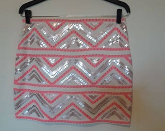 Pink and Silver Zig-Zag Mini Skirt