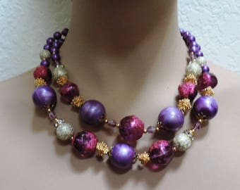 Deauville Jewelry Set Double Strand Necklace Clip Earrings Purple Pink Beads Vintage Christmas Gift