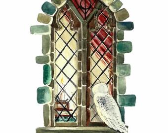 Literary Window Series: Harry Potter inspired 5x7 Watercolor Art Print, Children's Books, Nursery Art, JK Rowling, Classic Literature