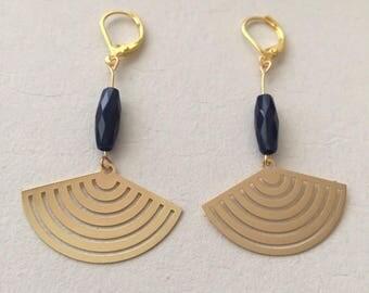 Dangle earrings Golden elongated Blue Navy