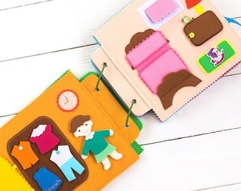 Activity Book Quiet book dollhouse Busy Book - Felt Book - Toddler toys - Soft book - Baby Activity Book - Fabric Book felt book for kids