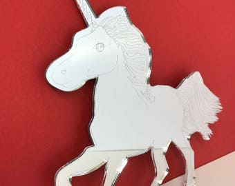 Ursula the Unicorn decorative wall mirror measuring 180mm made with 3mm mirror acrylic available in Brass, Gold, Silver or Purple,