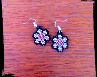 Pink flowers black and Silver earrings