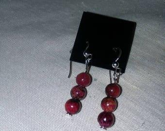 Red 3 ball earrings