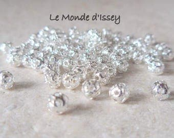 Lot 50 beads filigree plated silver 4mm