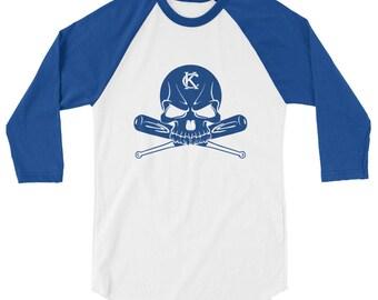 KC Skull-Bats 3/4 sleeve raglan shirt