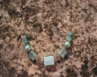 "Life is a blue sky, blue necklace ""turquoise sky"" square glass beads"