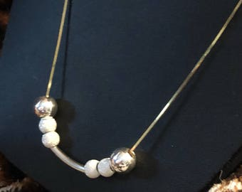 Two-tone Sterling Silver Beaded Necklace