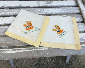Vintage Hand Sewn Embroidered Napkins