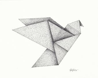 Origami Dove (pen and ink drawing)