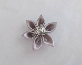 Flowers kanzashi handmade gray satin