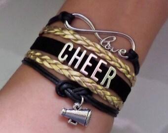 Cheer bracelet, Cheerleader gift, Cheerleading jewelry, Megaphone charm, Cheer squad Gift, Cheer Team, Infinity cheer bracelet, Black/Gold