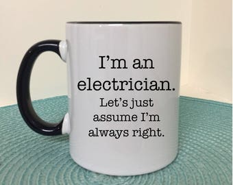 I'm an electrician gift for electrician gifts for electricians electrician gift mugs with sayings gifts for tradies, custom mug